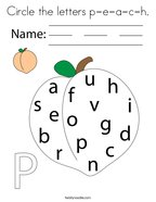 Circle the letters p-e-a-c-h Coloring Page