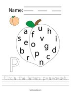 Circle the letters p-e-a-c-h Handwriting Sheet