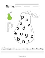 Circle the letters p-e-a-r Handwriting Sheet