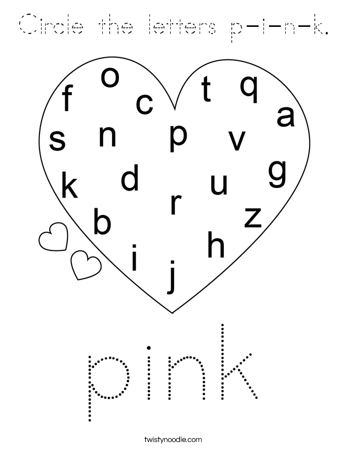 Circle the letters p-i-n-k. Coloring Page
