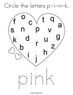 Circle the letters p-i-n-k Coloring Page