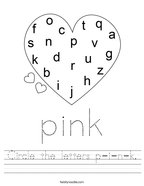 Circle the letters p-i-n-k Handwriting Sheet