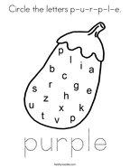 Circle the letters p-u-r-p-l-e Coloring Page