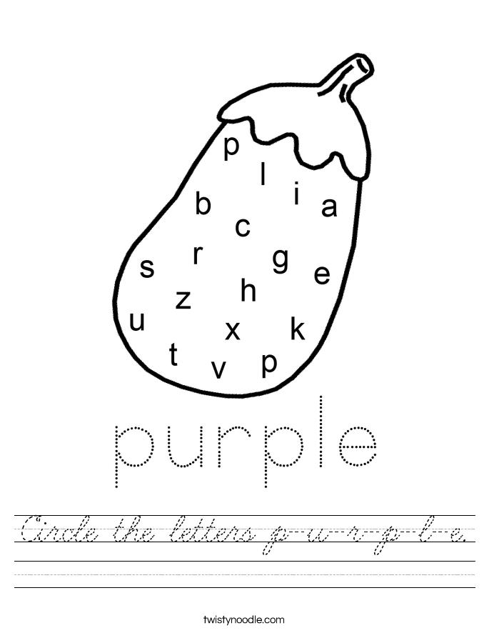 Circle the letters p-u-r-p-l-e. Worksheet