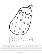 Circle the letters p-u-r-p-l-e Handwriting Sheet
