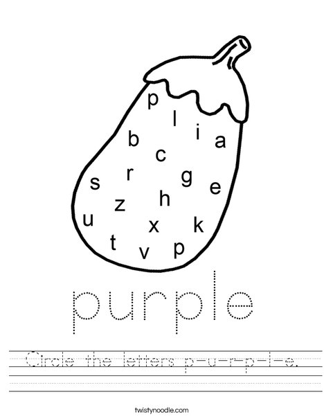 Circle the letters p-u-r-p-l-e. Worksheet