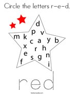 Circle the letters r-e-d Coloring Page