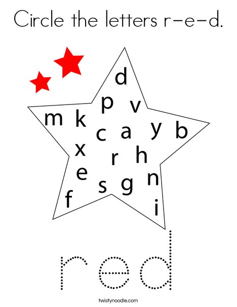 Circle the letters r-e-d. Coloring Page