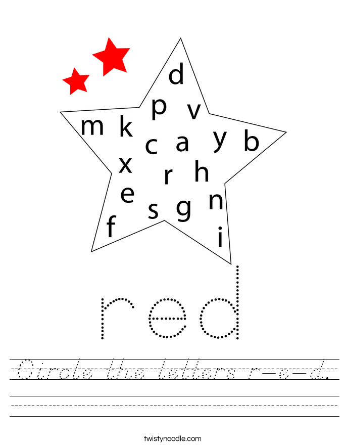 Circle the letters r-e-d. Worksheet