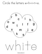 Circle the letters w-h-i-t-e Coloring Page