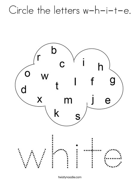 Circle the letters w-h-i-t-e, Coloring Page