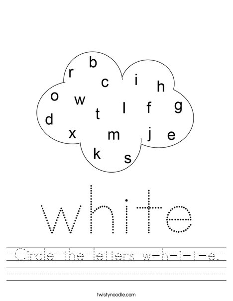 Circle the letters w-h-i-t-e, Worksheet