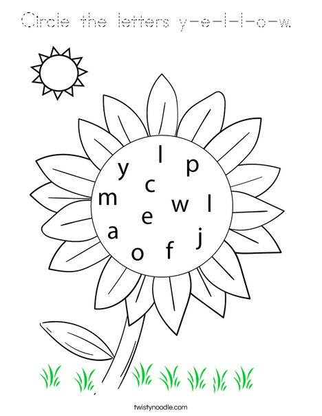 Circle the letters y-e-l-l-o-w. Coloring Page