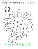 Circle the letters y-e-l-l-o-w  Coloring Page