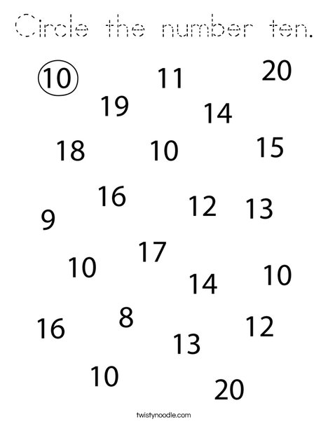 Circle the number 10. Coloring Page
