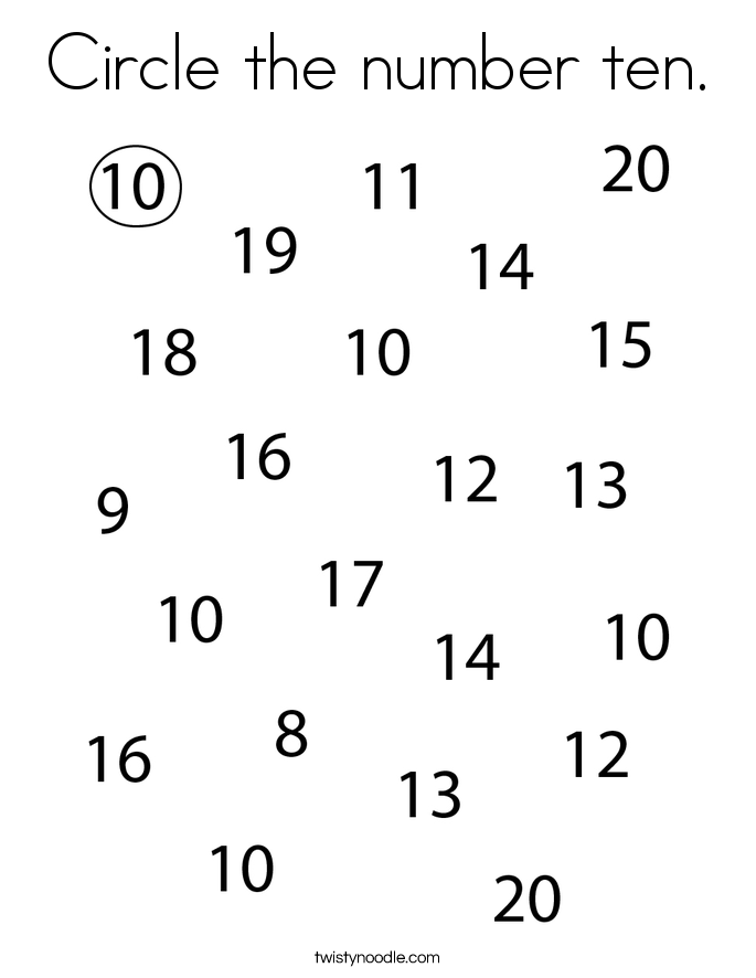 Circle the number ten. Coloring Page