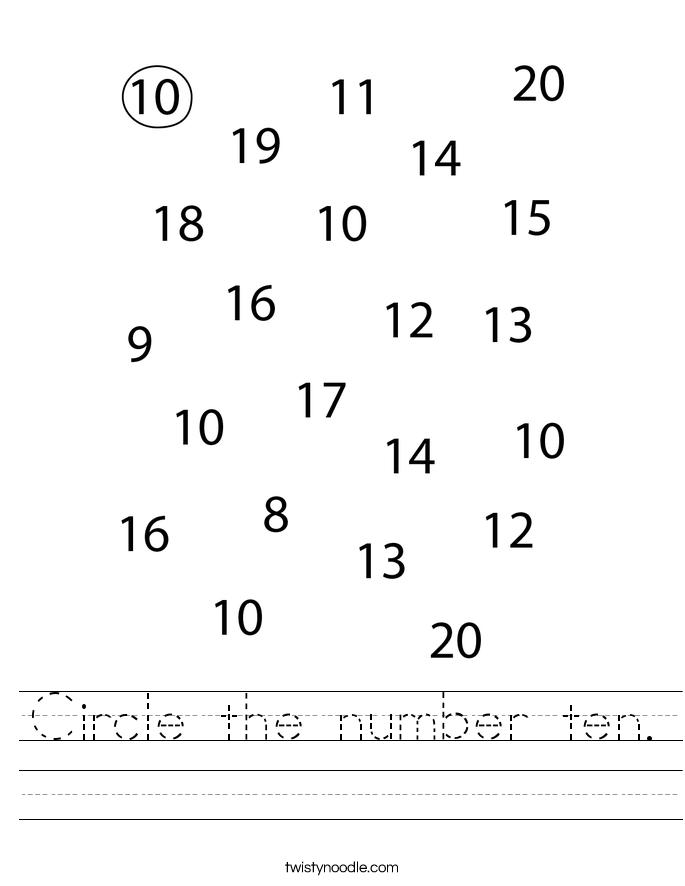 Circle the number ten. Worksheet