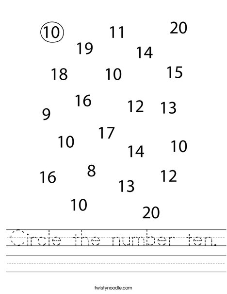 Circle the number 10. Worksheet
