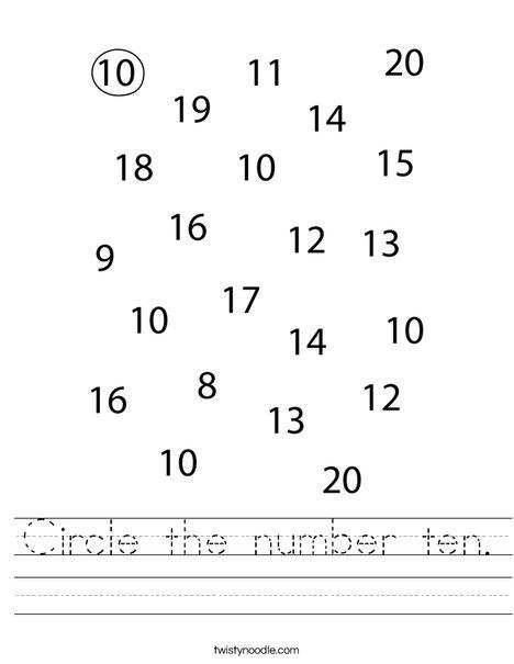 Circle the number 10. Worksheet