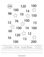 Circle the number 100 Handwriting Sheet