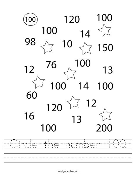 Circle the number 100. Worksheet
