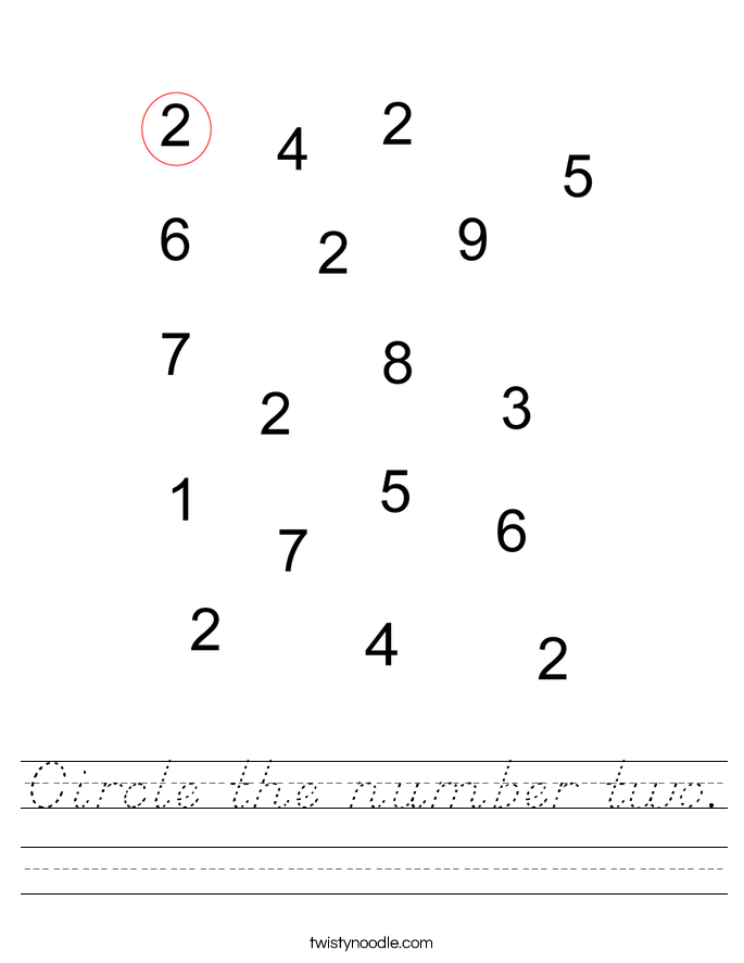 Circle the number two. Worksheet