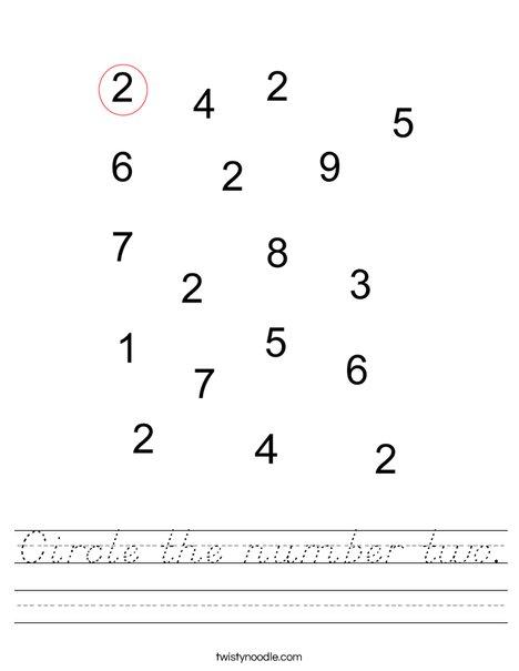Circle the number 2. Worksheet