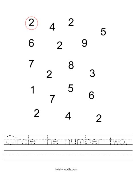 Circle the number 2. Worksheet