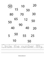 Circle the number fifty Handwriting Sheet