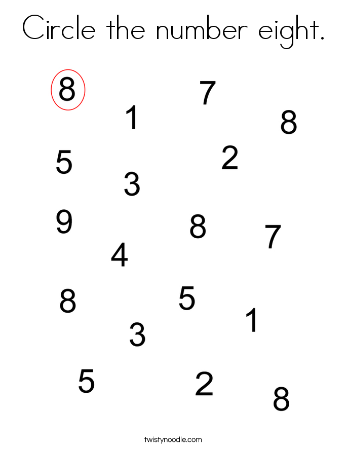 Circle the number eight. Coloring Page