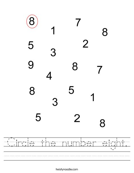 Circle the number eight. Worksheet