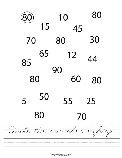 Circle the number eighty. Worksheet