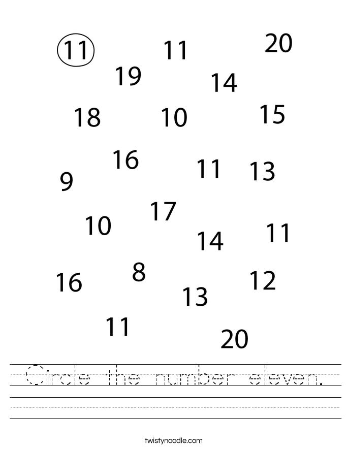 Circle the number eleven. Worksheet
