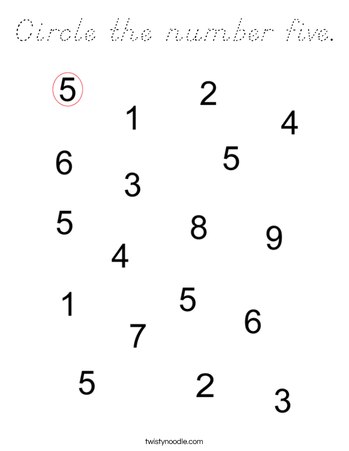 Circle the number five. Coloring Page