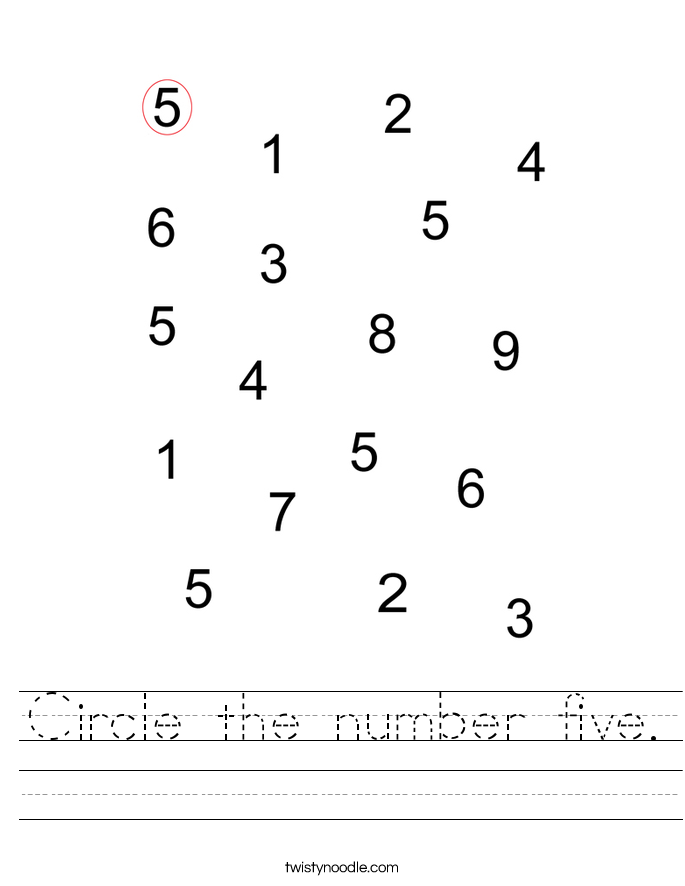 Circle the number five. Worksheet