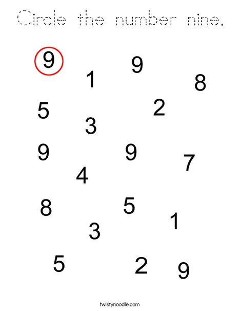 Circle the number nine. Coloring Page