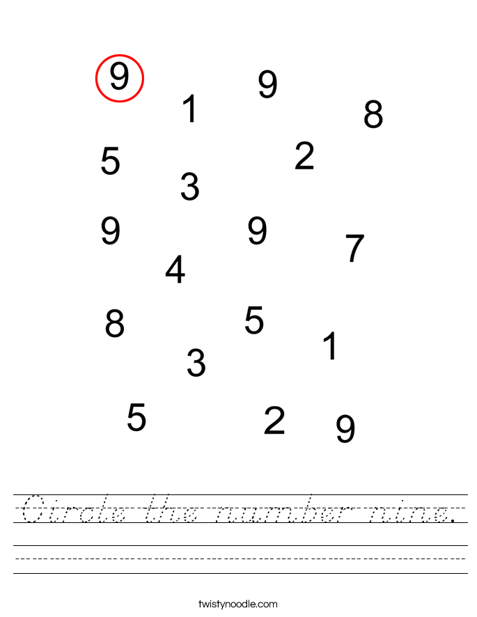 Circle the number nine. Worksheet