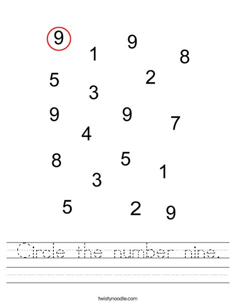 Circle the number nine. Worksheet