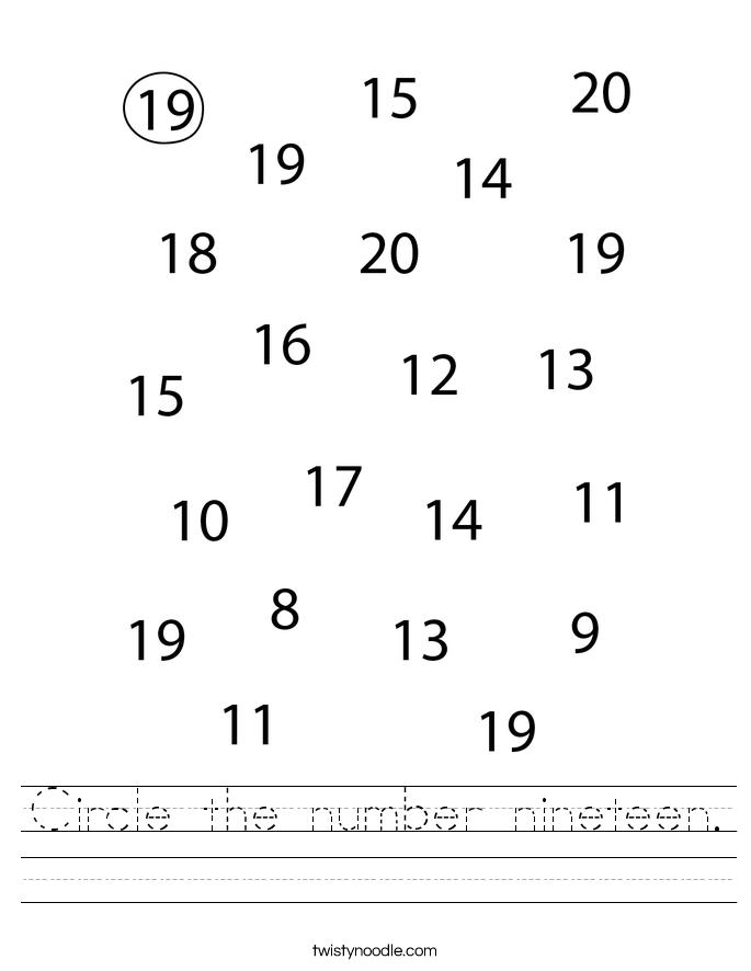 Circle the number nineteen. Worksheet