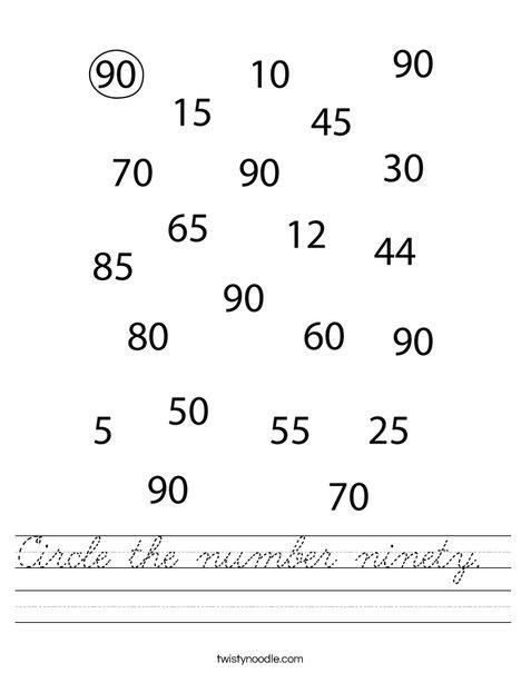Circle the number ninety. Worksheet