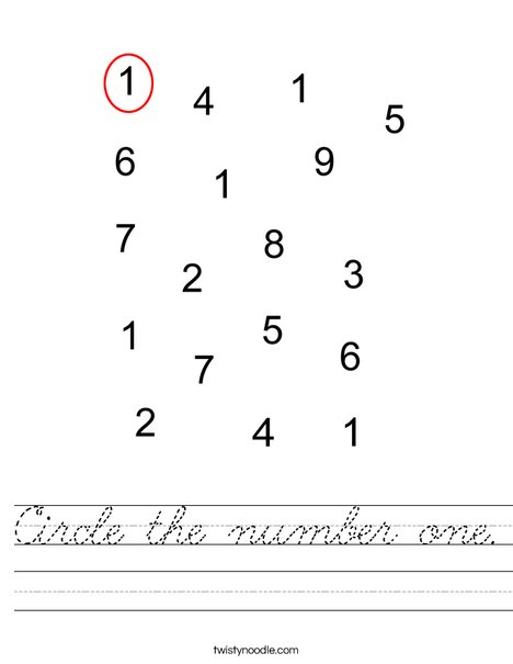 Circle the number one. Worksheet