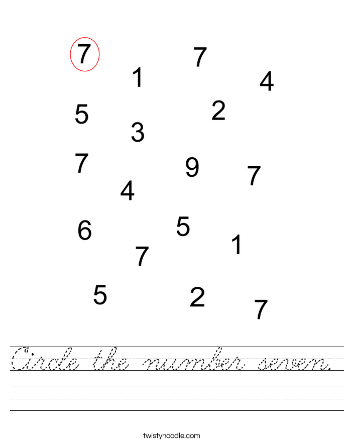 Circle the number seven. Worksheet