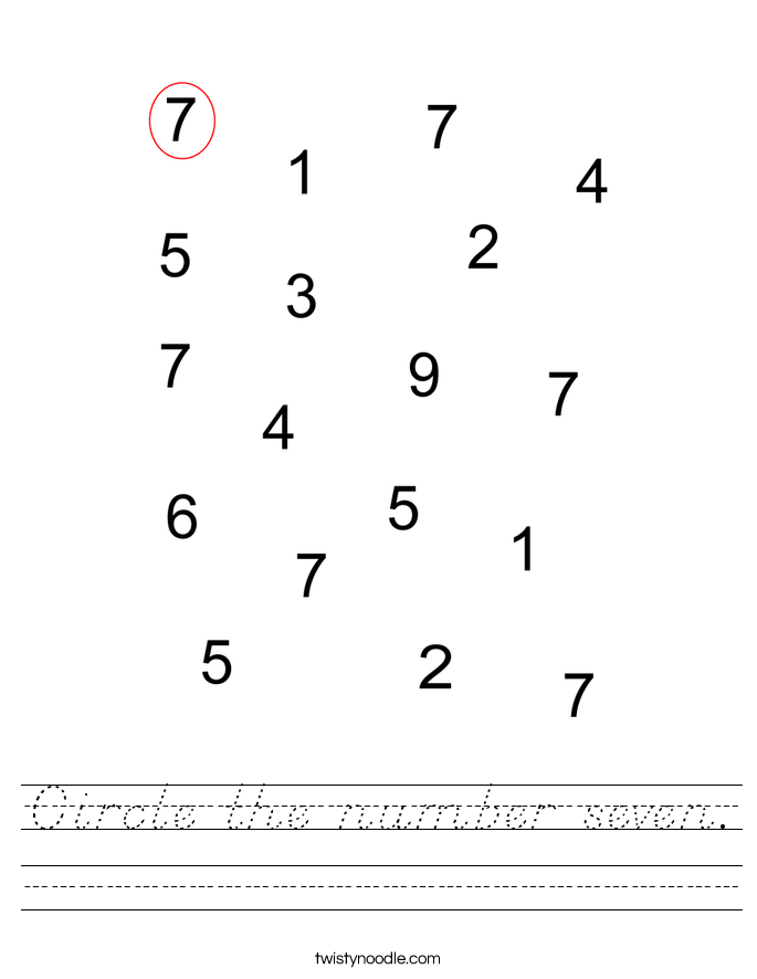 Circle the number seven. Worksheet