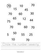 Circle the number seventy Handwriting Sheet