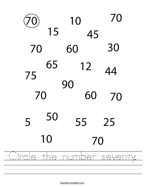 Circle the number seventy. Worksheet