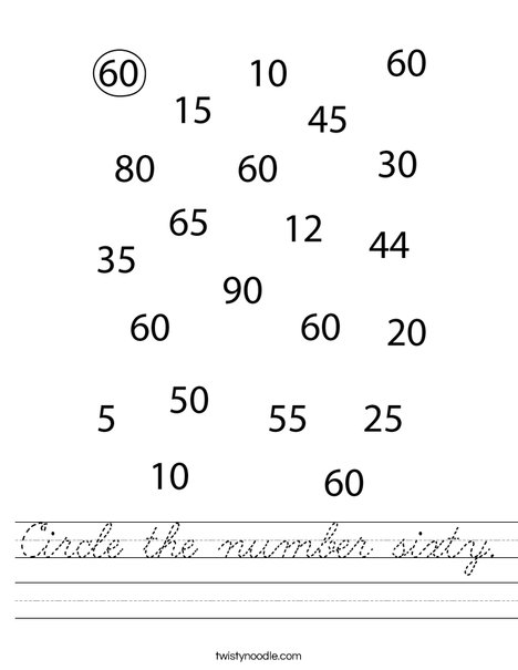 Circle the number sixty. Worksheet