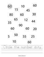 Circle the number sixty Handwriting Sheet