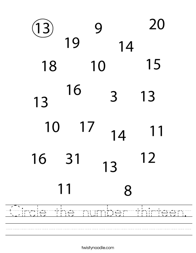 Circle the number thirteen. Worksheet