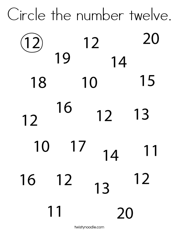 Circle the number twelve. Coloring Page