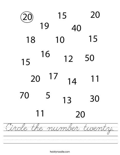 Circle the number twenty. Worksheet